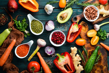 Organic Food: Fresh Vegetables, Fruits, Beans And Nuts. Vegetarian Menu. Free Space For Your Text.