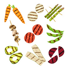 Grilled Skewered Vegetables And Mushrooms Isolated On White Background Vector Set