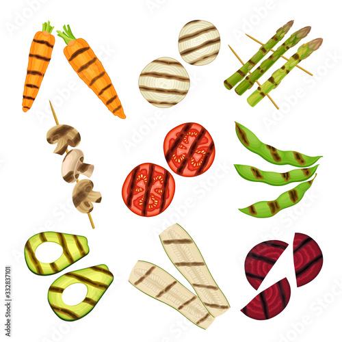 Fototapeta Grilled Skewered Vegetables and Mushrooms Isolated on White Background Vector Set obraz