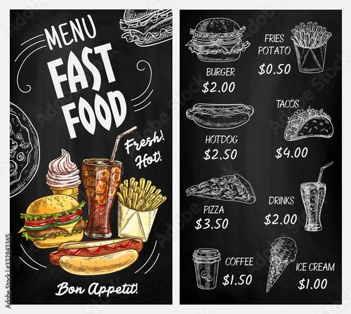 Fototapeta Fast food restaurant blackboard menu with chalk sketches of burgers and drinks. Hamburger, hot dog, pizza and french fries, cheeseburger, soda and coffee, ice cream and tacos, chalkboard menu design obraz