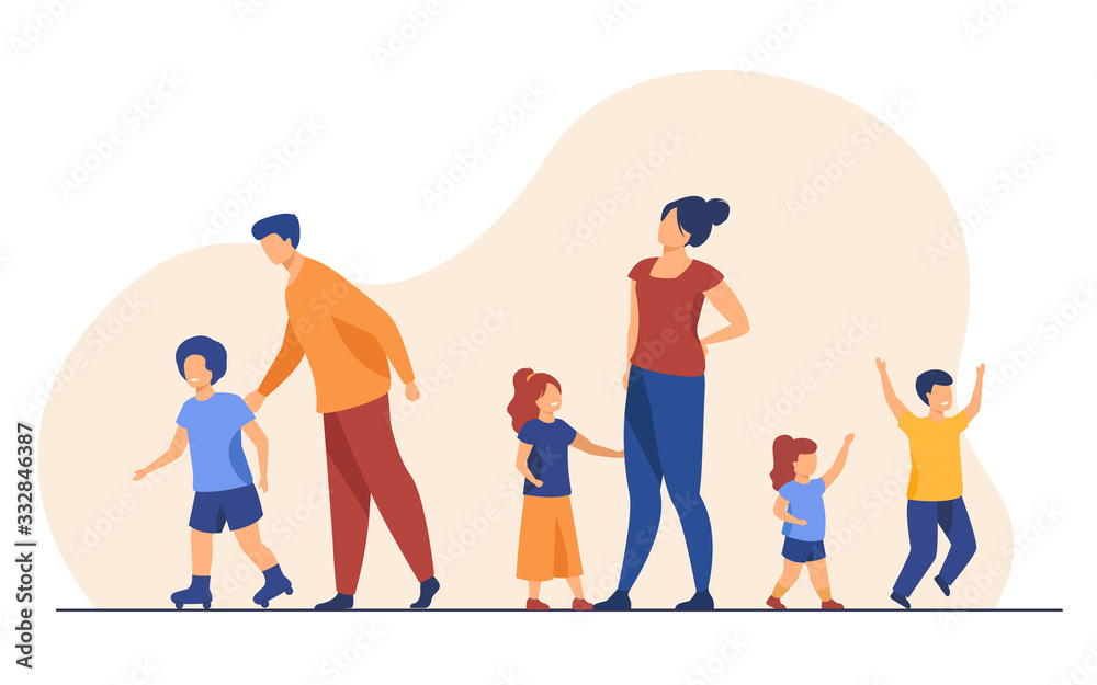 Obraz Big family walking outdoors. Tired parents and children standing together, roller skating. Vector illustration for large family, childhood, weekend, leisure concept fototapeta, plakat