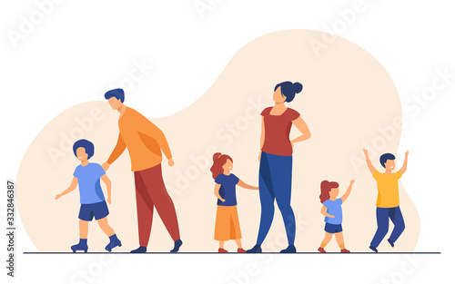 Obraz Big family walking outdoors. Tired parents and children standing together, roller skating. Vector illustration for large family, childhood, weekend, leisure concept - fototapety do salonu