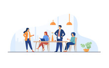 Employees Meeting In Office Kitchen And Drinking Coffee. Team Of Workers Talking During Coffee Break. Vector Illustration For Teamwork, Lunch, Corporate Communication Concept