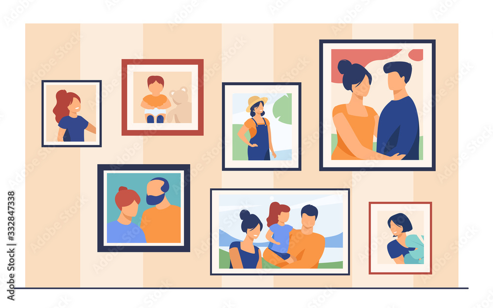 Fototapeta Family portrait pictures in frames on wall. Happy parents and kids framed photos in home interior. Vector illustration for home decoration, photography, generation concept