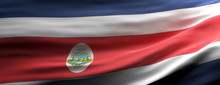 Costa Rica National Flag Waving Texture Background. 3d Illustration