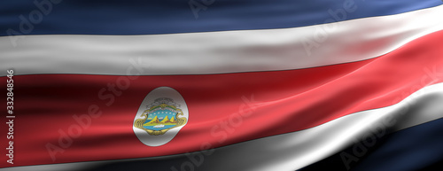 Fototapeta Costa Rica national flag waving texture background. 3d illustration obraz