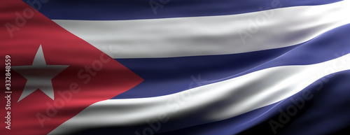 Cuba national flag waving texture background. 3d illustration Canvas Print