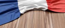 France Flag On Wood, Copy Space. 3d Illustration