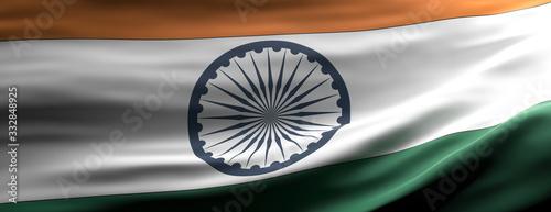India national flag waving texture background. 3d illustration