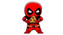 Cute Cartoon Deadpool Vector Art With Pizza