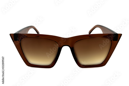 Canvastavla Brown wayfarer thick frame sunglasses with gradient glasses isolated on white ba