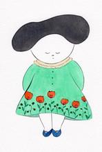 花柄ワンピースの女の子