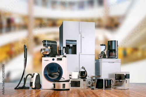 3d render of home appliances collection set Wallpaper Mural