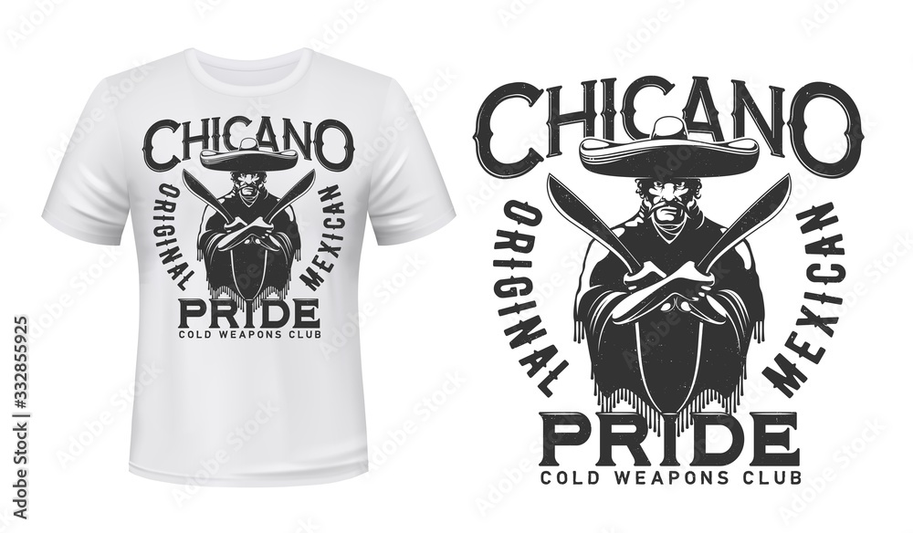 Fototapeta Mexican bandit with knives t-shirt print mockup of bladed weapon or cold arms vector design. Mexican gangster with machetes, sombrero and poncho, custom apparel print template for melee weapon club