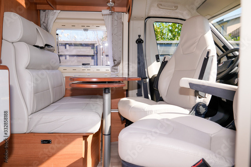 Fotografie, Tablou vacation campervan interior table wooden in modern new motor home vanlife