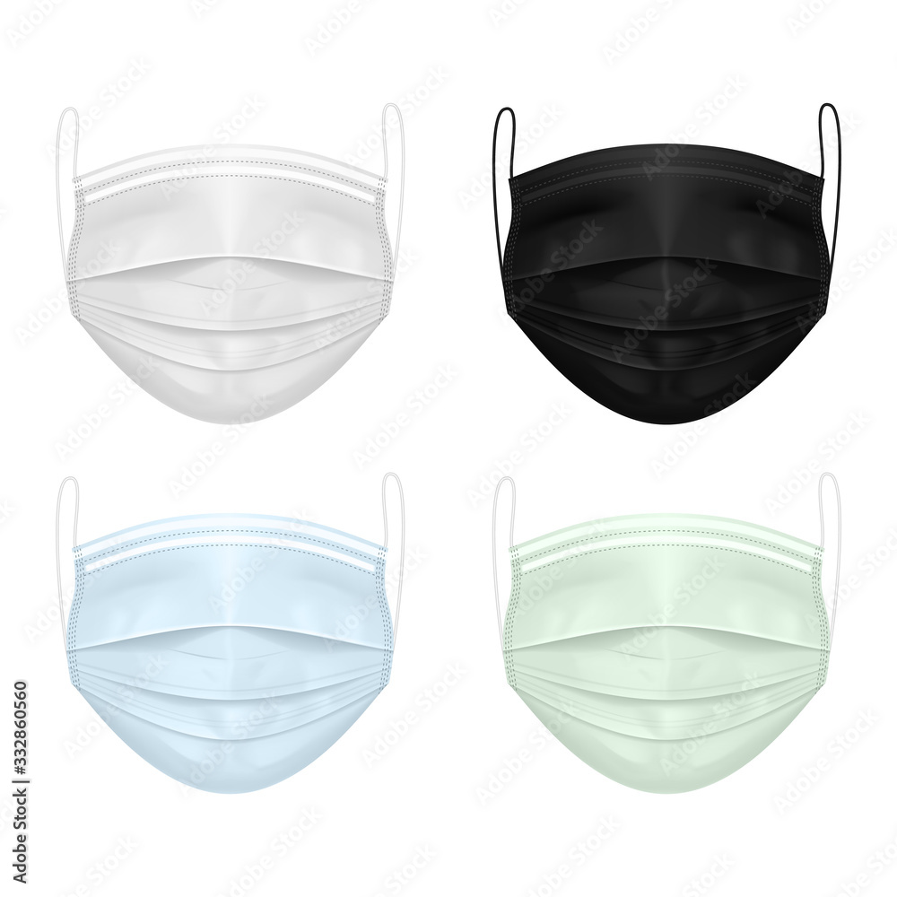 Fototapeta  Set of medical masks of different colors: white, black, blue, green. Protection against the virus, coronavirus, infections. Vector EPS 10 .