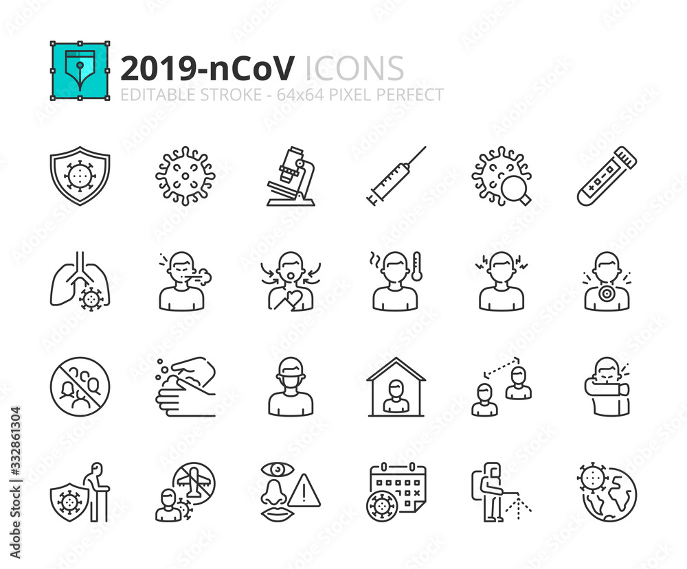 Fototapeta Simple set of outline icons about  2019-nCoV information.