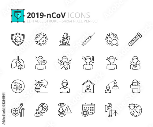Photo Simple set of outline icons about  2019-nCoV information.