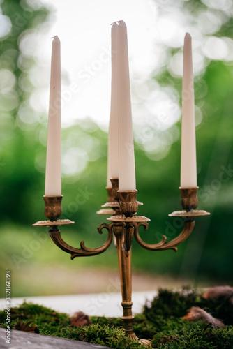 Leinwand Poster Kerzenleuchter im Wald