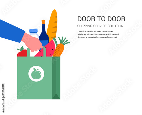 Obraz Food delivery service concept, online order tracking. Warehouse, truck and scooter courier, with a delivery man in a respirator mask. Vector illustration - fototapety do salonu