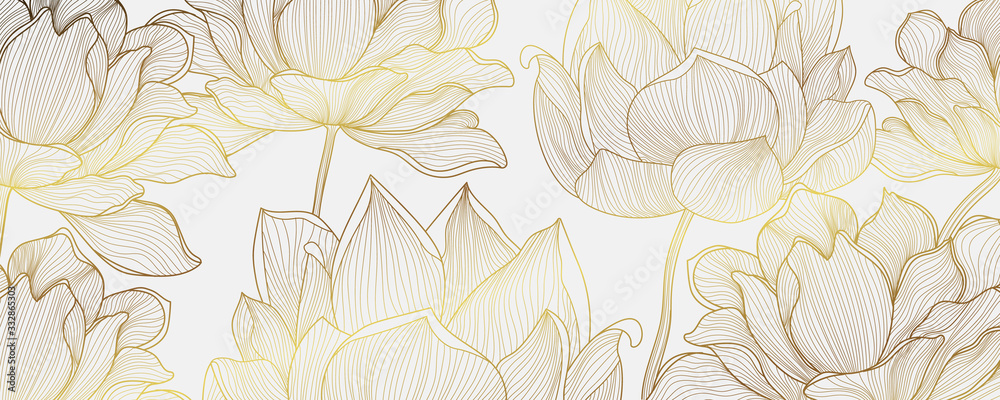 Fototapeta Luxury Gold wallpaper design with Golden lotus and natural background. Lotus line arts design for fabric, prints and background texture, Vector illustration.