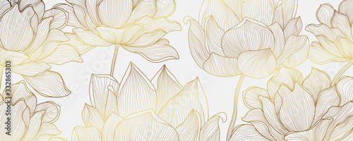 Luxury Gold wallpaper design with Golden lotus and natural background. Lotus line arts design for fabric, prints and background texture, Vector illustration.