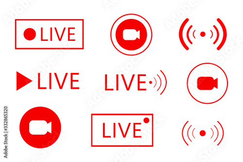 Fototapeta Set of live streaming icons. Set of Live broadcasting icons. Button, red symbols for news, TV, movies, shows obraz