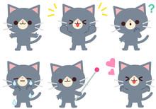 猫の仕草と表情のイラストセット