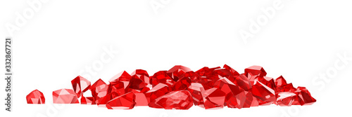 Fotografía group of ruby on white background 3D rendering