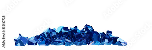 group of sapphire on white background 3D rendering Wallpaper Mural