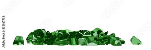 group of emeralds on white background 3D rendering Fototapet