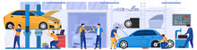 Car Service, Professional Maintenance And Diagnostic, Vector Illustration. Mechanic In Work Uniform, Men Cartoon Characters Repairing Cars In Garage Workshop. Automobile Service Center, People At Job