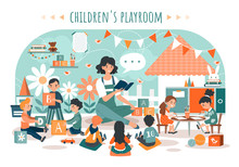 Children Playroom, Kids With T...