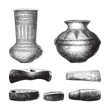 Stone Age Objects - Vase, Axe ...