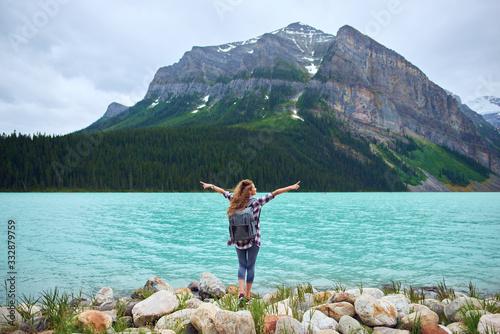 Female traveller exploring Banff National Park of Alberta Canvas Print