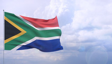 Waving Flags Of The World - Flag Of South Africa. 3D Illustration.