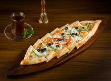 Turkish Vegetarian Pide With Vegetables On Wooden Table Pide With Vegetable Turkish Cuisine