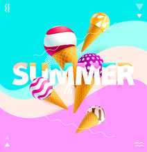 """Word """"summer"""" With Colorful Ic..."""