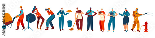 People of different professions, isolated cartoon characters, vector illustration Wallpaper Mural