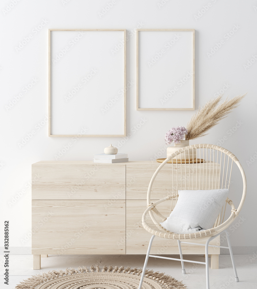 Fototapeta Mock up frame in coastal home interior background, room with natural wooden furniture and dry plants, 3d render