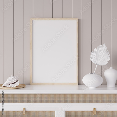 Obraz Mock up frame in coastal home interior background, room with natural wooden furniture and dry plants, 3d render - fototapety do salonu