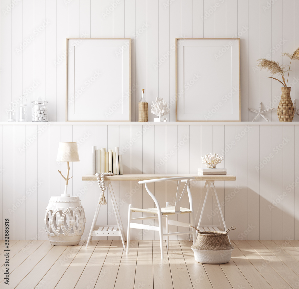 Fototapeta Poster mock up in home interior background, home office, Coastal style, 3d render