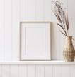 Leinwanddruck Bild - Mockup poster frame close up in coastal style home interior, 3d render