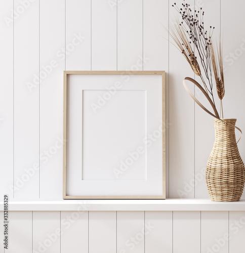 Mockup poster frame close up in coastal style home interior, 3d render Fototapete