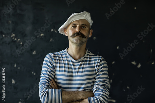Canvastavla brutal cook with mustache, unusual marine chef in a vest, vintage style