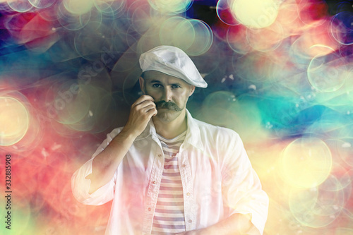 brutal cook with mustache, unusual marine chef in a vest, vintage style Fototapet
