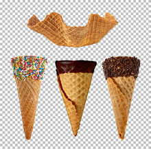 Group Of Ice Cream Cones On Is...