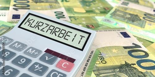 Foto Taschenrechner Kurzarbeit Euroscheine