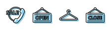 Set Line Hanger Wardrobe, Telephone 24 Hours Support, Hanging Sign With Open And Hanging Sign With Closed Icon. Vector