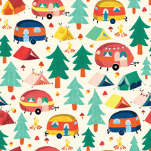 Camper Vans And Camping Tents Between Forest Trees Seamless Pattern. Cute Vintage Style Campground Scene Repeating Background. Use For Fabric, Wallpaper, Kids Decor.